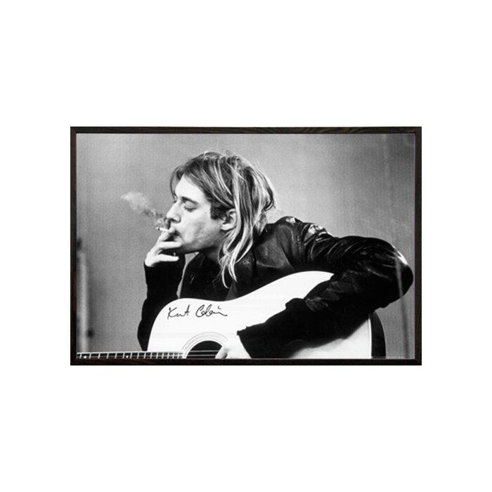East Urban Home \'Kurt Cobain Smoking\' Wood Framed Graphic Art Print ...