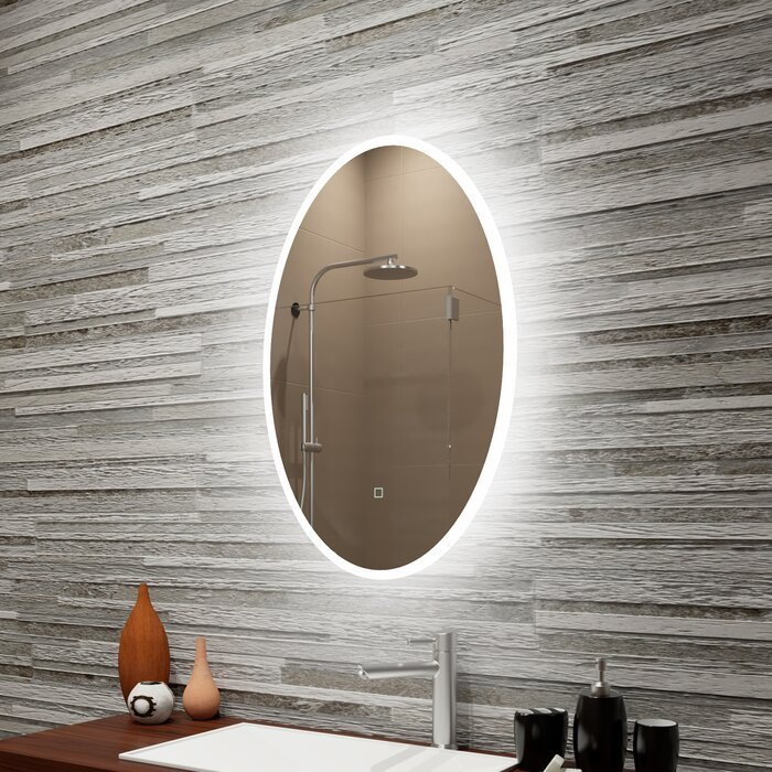 Bomar Reflection Dimmable Led Lighted Frosted Edge Oval Bathroom Vanity Mirror