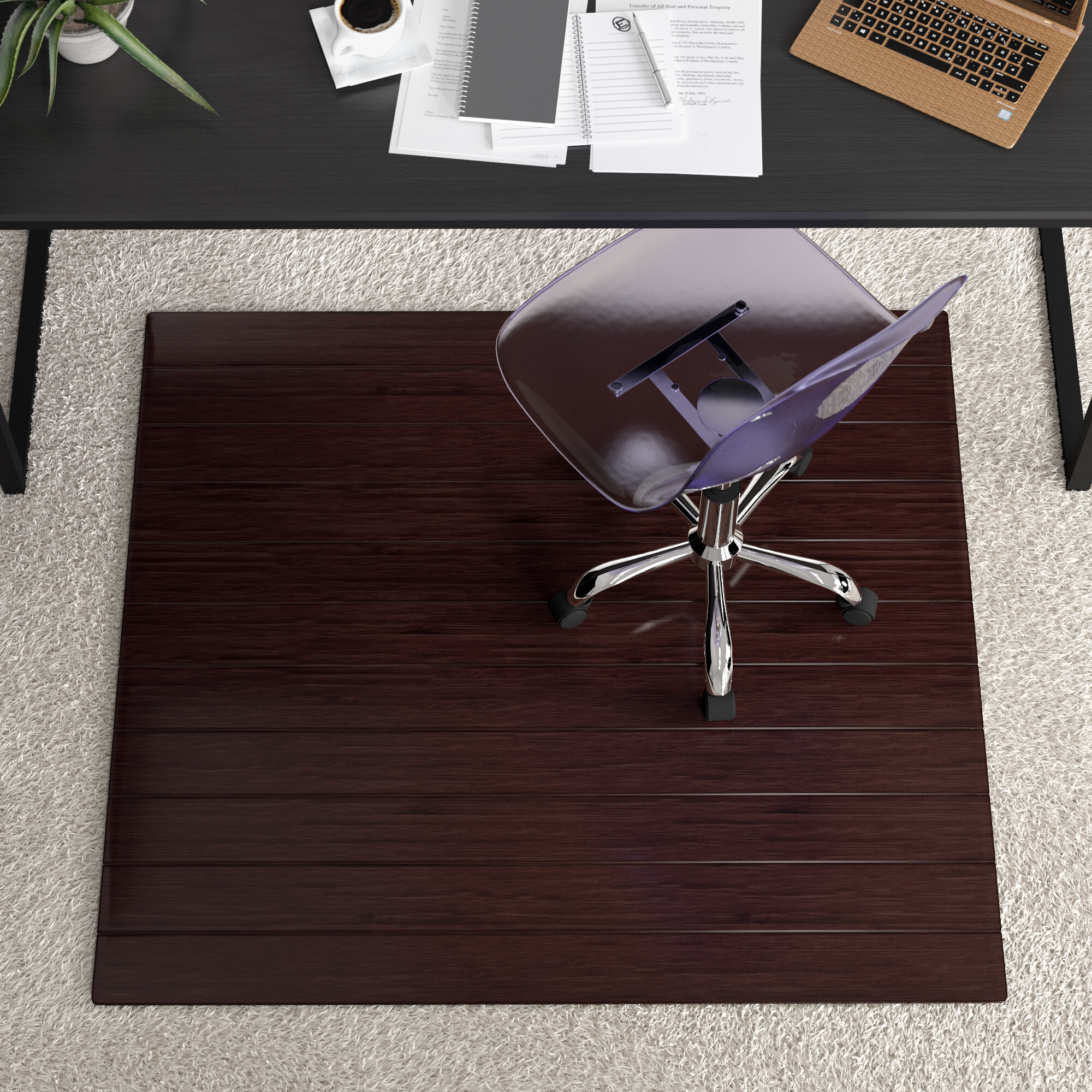 Symple Stuff Bamboo Office Chair Mat