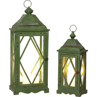 Comparison 2 Piece Wood and Metal Lantern By August Grove