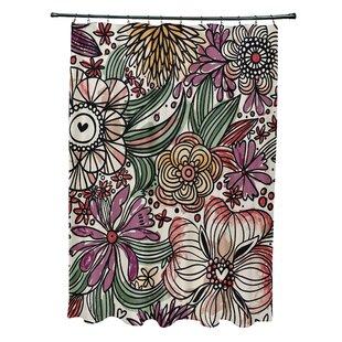 Natahsa Zentangle Floral Print Shower Curtain by Latitude Run