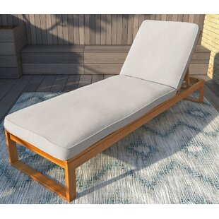 Faunce Reclining Teak Chaise Lounge with Cushion