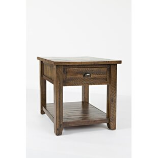 ClipperCove Wooden End Table with Storage by Loon Peak