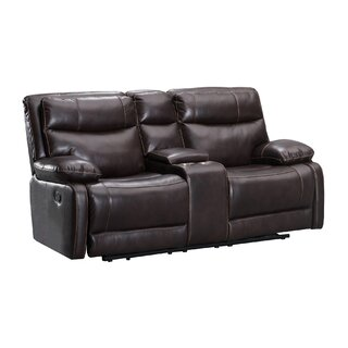 Leatherette Dual Recliner Wooden Loveseat With Console, Brown by Red Barrel Studio SKU:CD501361 Price Compare