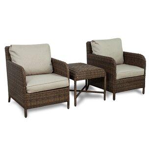 Gracie Oaks Bavis 3 Piece Rattan Conversation Set with Cushions