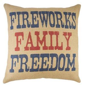 Fireworks Family Freedom Burlap Throw Pillow