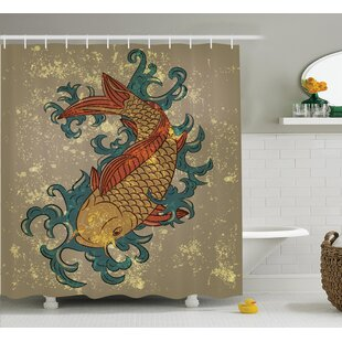 Oldenzaal Japanese Grunge Asian Style Oriental Cold Water Koi Carp Fish Aquatic Distressed Pattern Single Shower Curtain