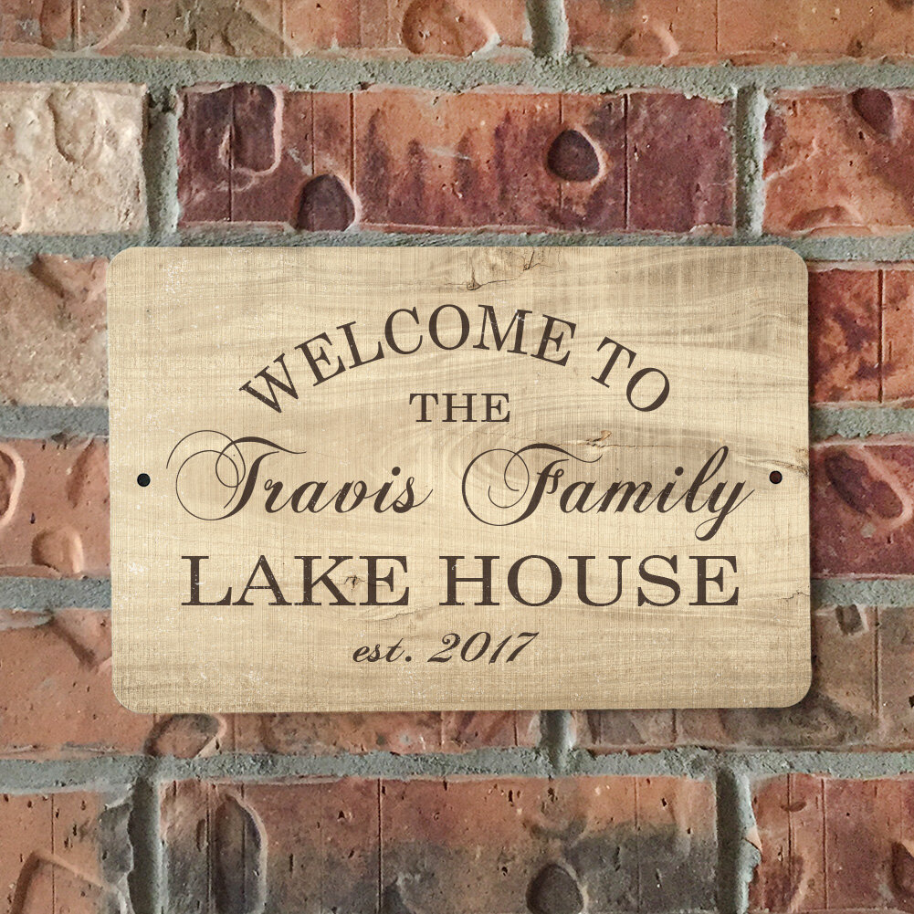 Personalized Wood Grain Look Lake House Metal Sign Wall Decor