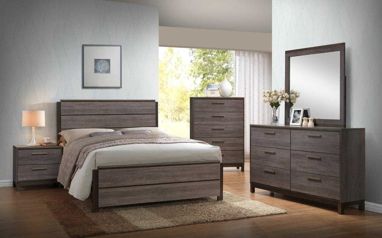 Mandy Wood Panel 5 Piece Bedroom Set