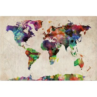 Modern contemporary world map canvas allmodern urban watercolor world map framed on beige canvas gumiabroncs Gallery