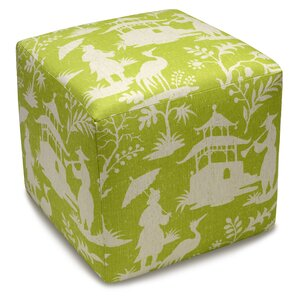Chinoiserie Upholstered Cube Ottoman