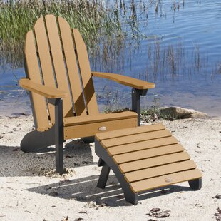 Detrick Plastic Adirondack Chair with Ottoman by Breakwater Bay