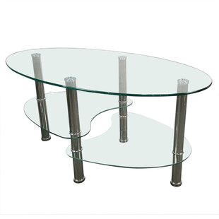 Friesen Dual Fishtail Style Tempered Glass End Table