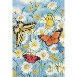 Butterflies and Daisies Garden flag