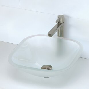 Kesia Translucence Glass Square Vessel Bathroom Sink by DECOLAV