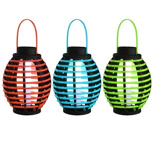 Bland Red/Blue/Green Solar Power LED Outdoor Lantern (Set Of 3) By Freeport Park