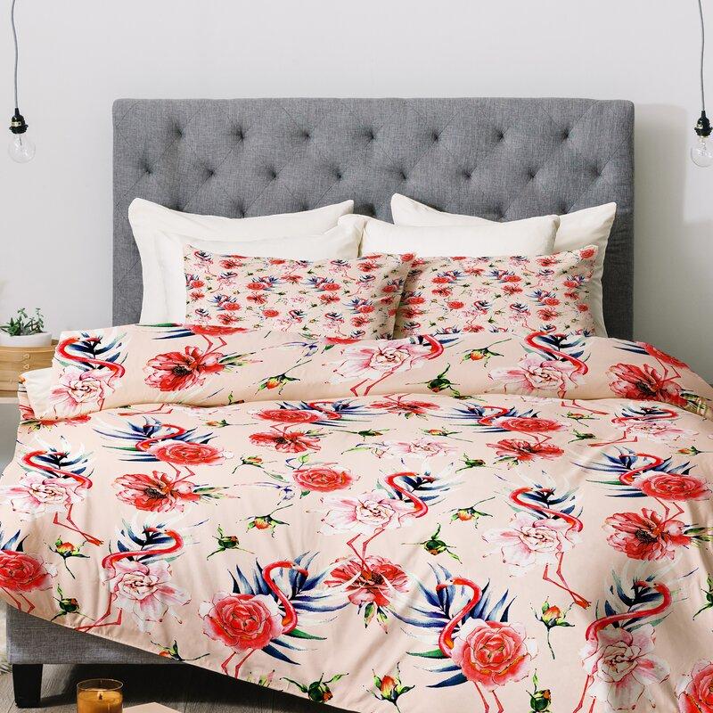 Marta Barragan Camarasa Flowery American Flamingos Comforter Set
