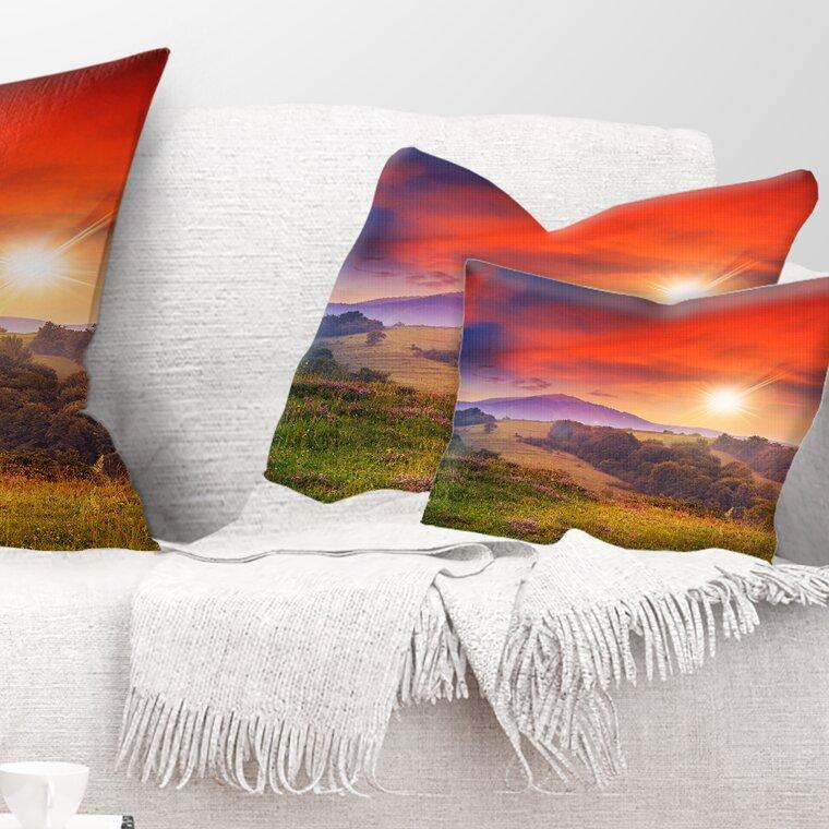 East Urban Home Cold Morning Fog With Hot Sun Landscape Photography Lumbar Pillow Wayfair