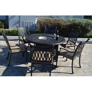 Fleur De Lis Living Baragrey 7 Piece Dining Set with Cushions