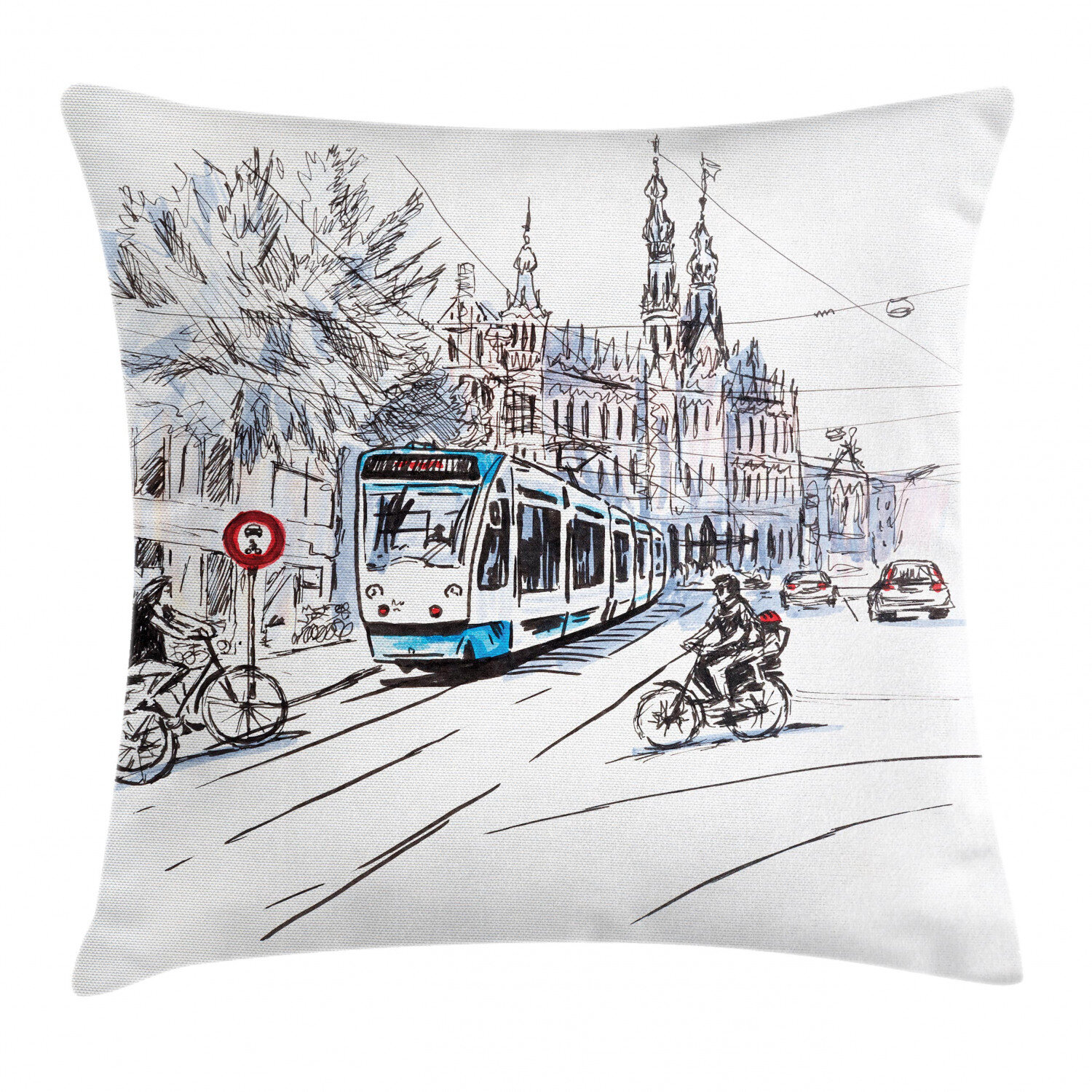 East Urban Home Tram And Bicyclists Cityscape Indoor Outdoor 40 Throw Pillow Cover Hand Drawn Tram And Bicyclists Cityscape Of Amsterdam Netherlands Urban Life Wayfair