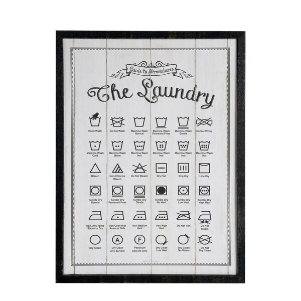 Mike Amp Melissa Framed Laundry Symbols Guide Wood Wall Sign