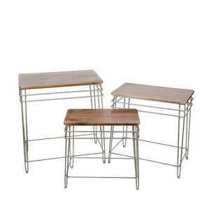 17 Stories Zena Iron Wood 3 Piece Nesting Tables