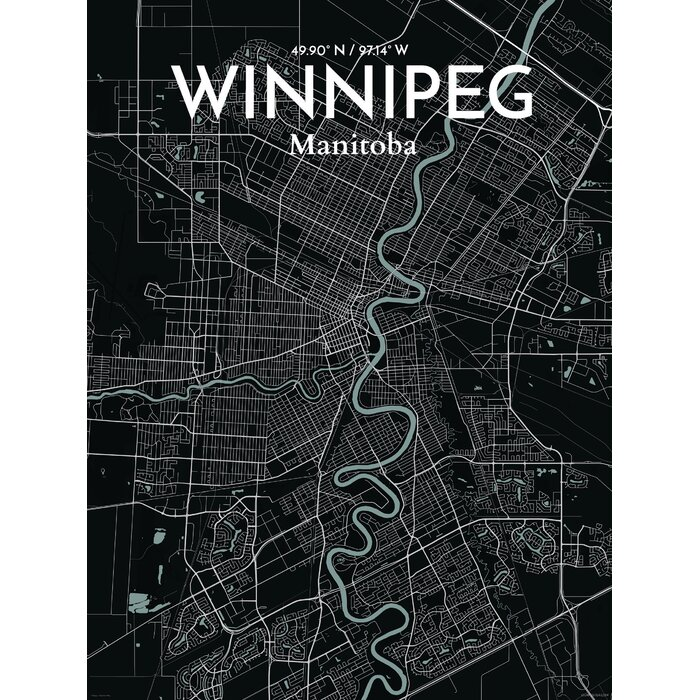 ourposter com winnipeg city map graphic art print poster in