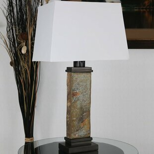 Wall Street Thin Natural Slate 26 Desk Lamp by Millwood Pines