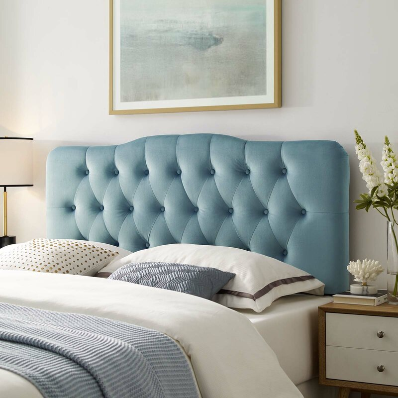 Twin Full Queen King Gray Upholstered Headboard Bed Frame Mount Tufted Fabric