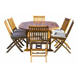 Everleigh 7 Piece Teak Sunbrella Dining Set with Cushions