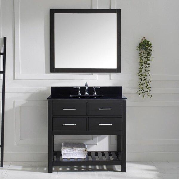 willa arlo interiors rishaan 37 single bathroom vanity set with black galaxy top and mirror reviews wayfair