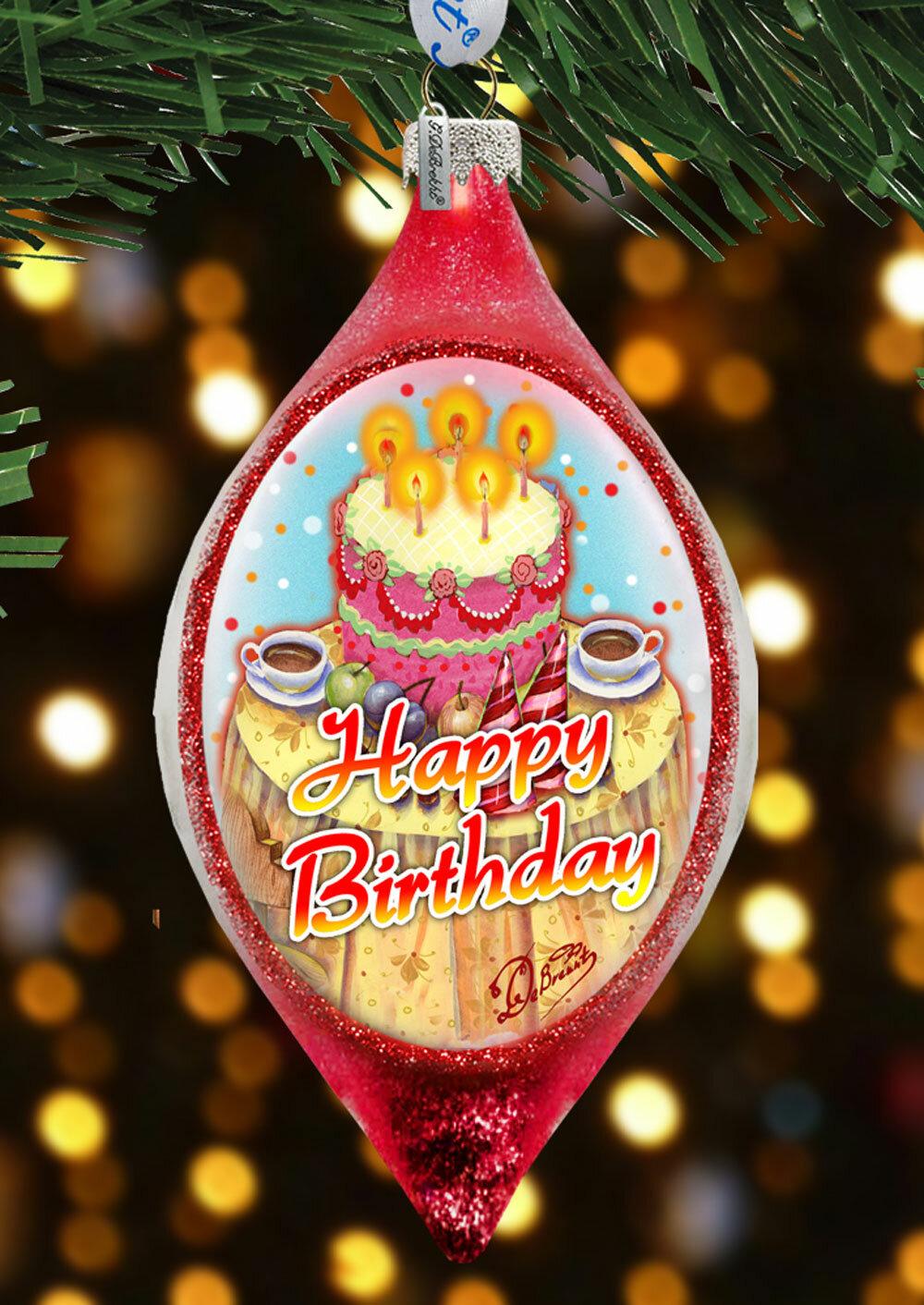 The Holiday Aisle Happy Birthday Glass Finial Ornament Holiday Splendor Collection Wayfair