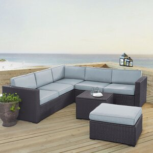 Dinah 6 Person Outdoor Wicker 5 Piece Sectional Seating Group with Cushion