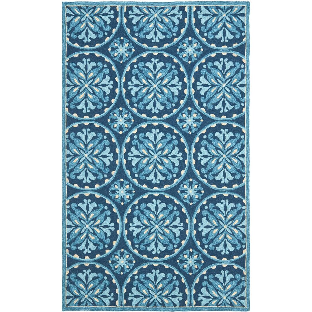 Charlton home carvalho blue indoor outdoor area rug for Blue indoor outdoor rug