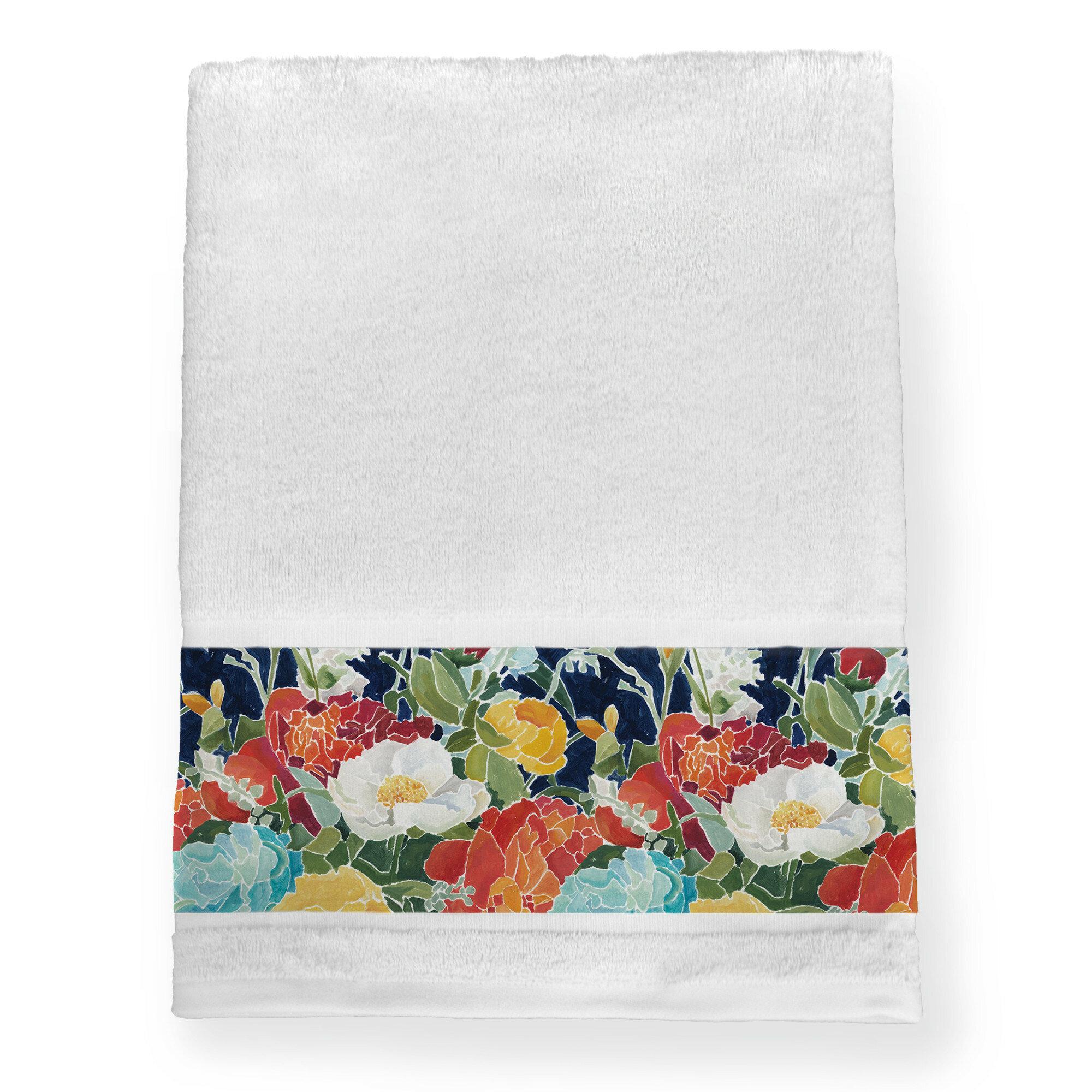 Alcott Hill Cardone Midnight Florals 100 Cotton Bath Towel Wayfair