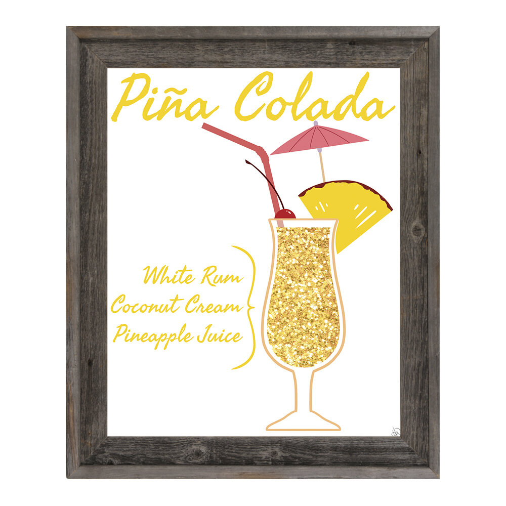 Click Wall Art Pina Colada Framed Graphic Art On Wrapped Canvas Wayfair
