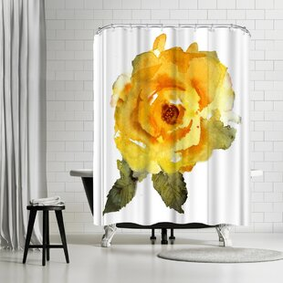 Rachel McNaughton Yellow Rose Single Shower Curtain