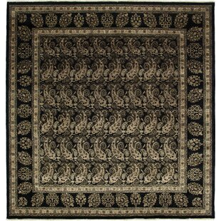 Online Reviews One-of-a-Kind Desdemona Hand-Knotted Black Area Rug By Isabelline