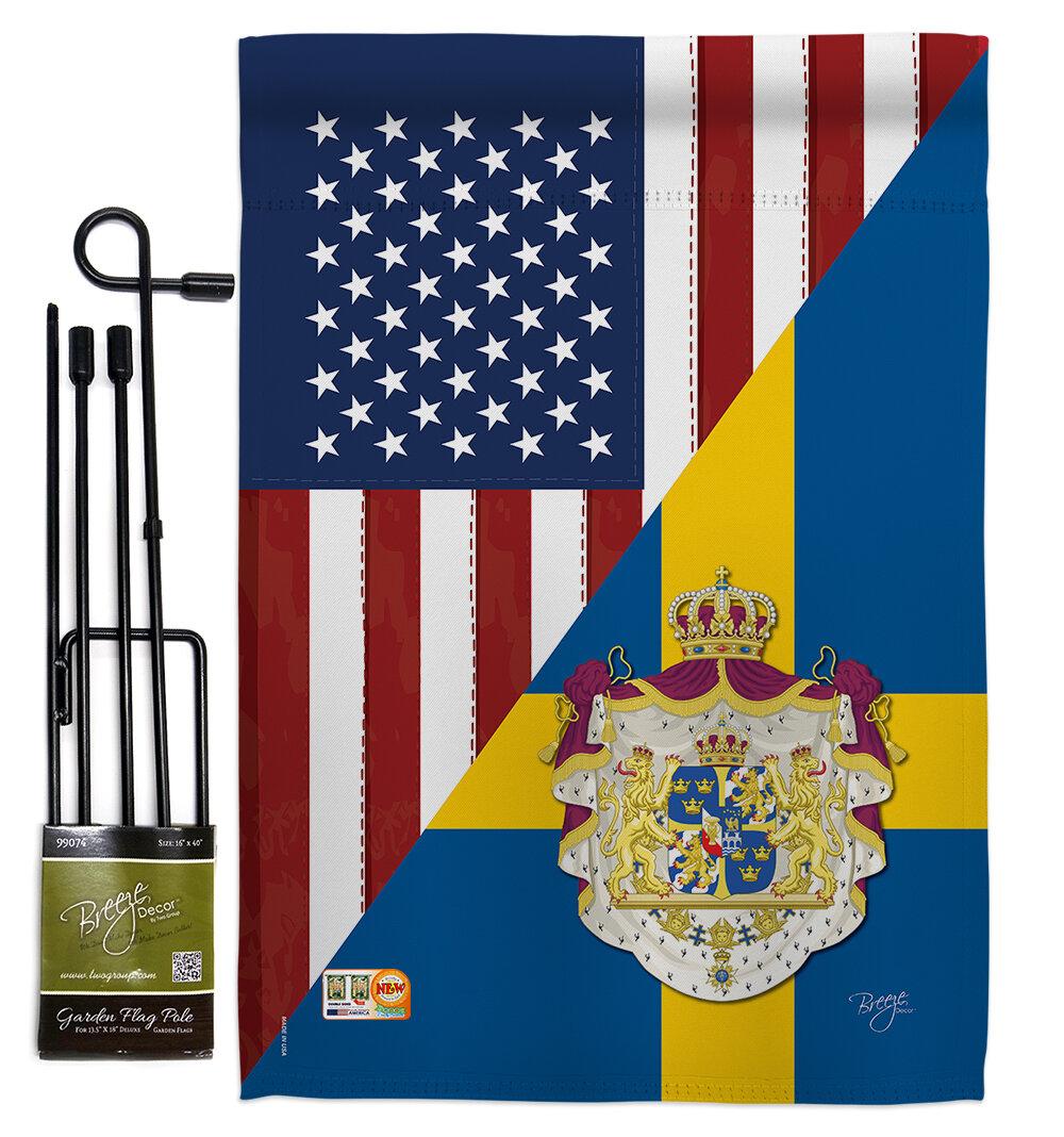 Breeze Decor American Sweden Friendship 2 Sided Polyester 18 5 X 13 In Flag Set Wayfair