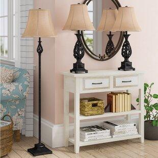 Astoria Grand Hackett 3 Piece Table and Floor Lamp Set