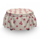 Rose Blossoms on Polka Dots Ottoman Slipcover (Set of 2) by East Urban Home