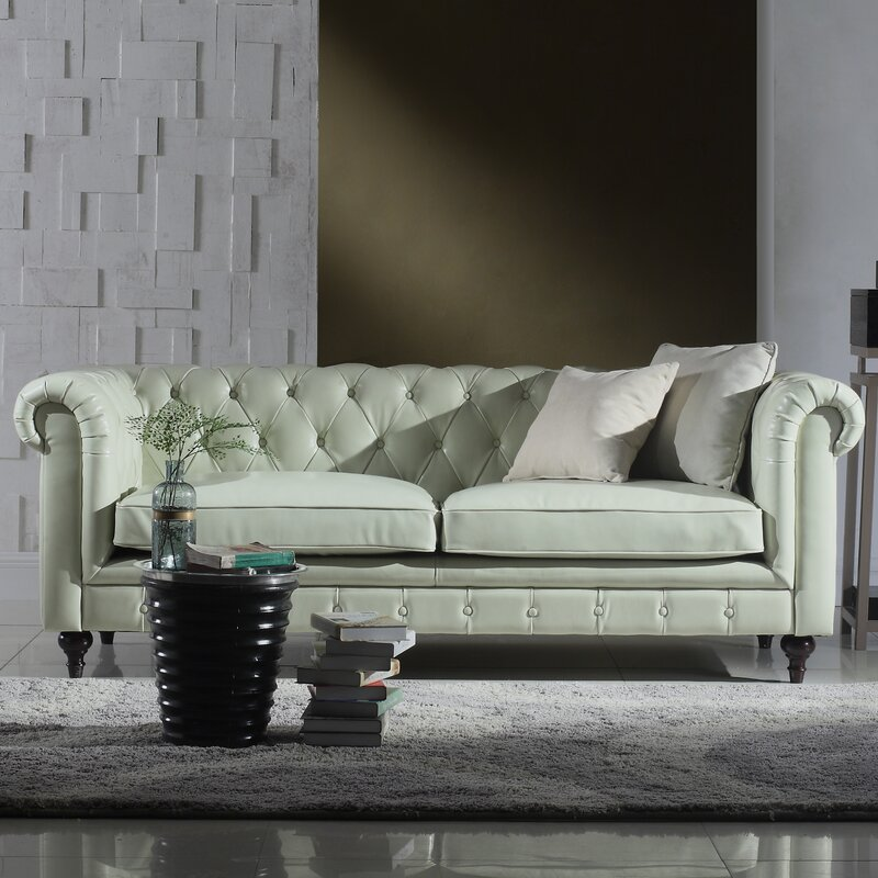 Madison Home USA Tufted Leather Chesterfield Sofa ...