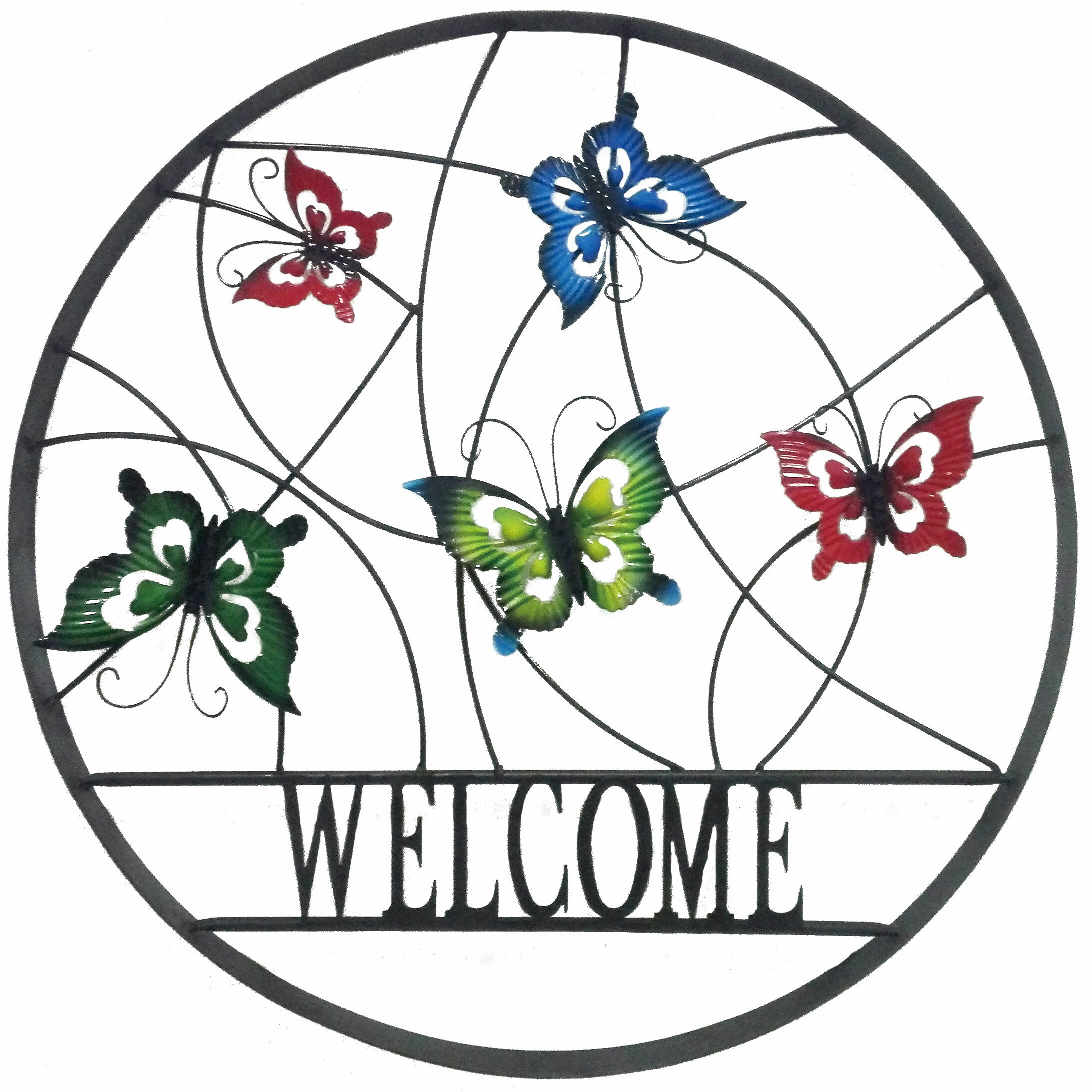 August Grove Arsen Decorative Outdoor Butterfly Welcome Wheel Wall