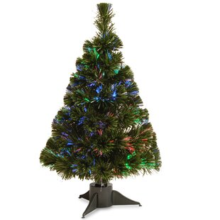 fiber optics 2 green artificial christmas tree led with stand