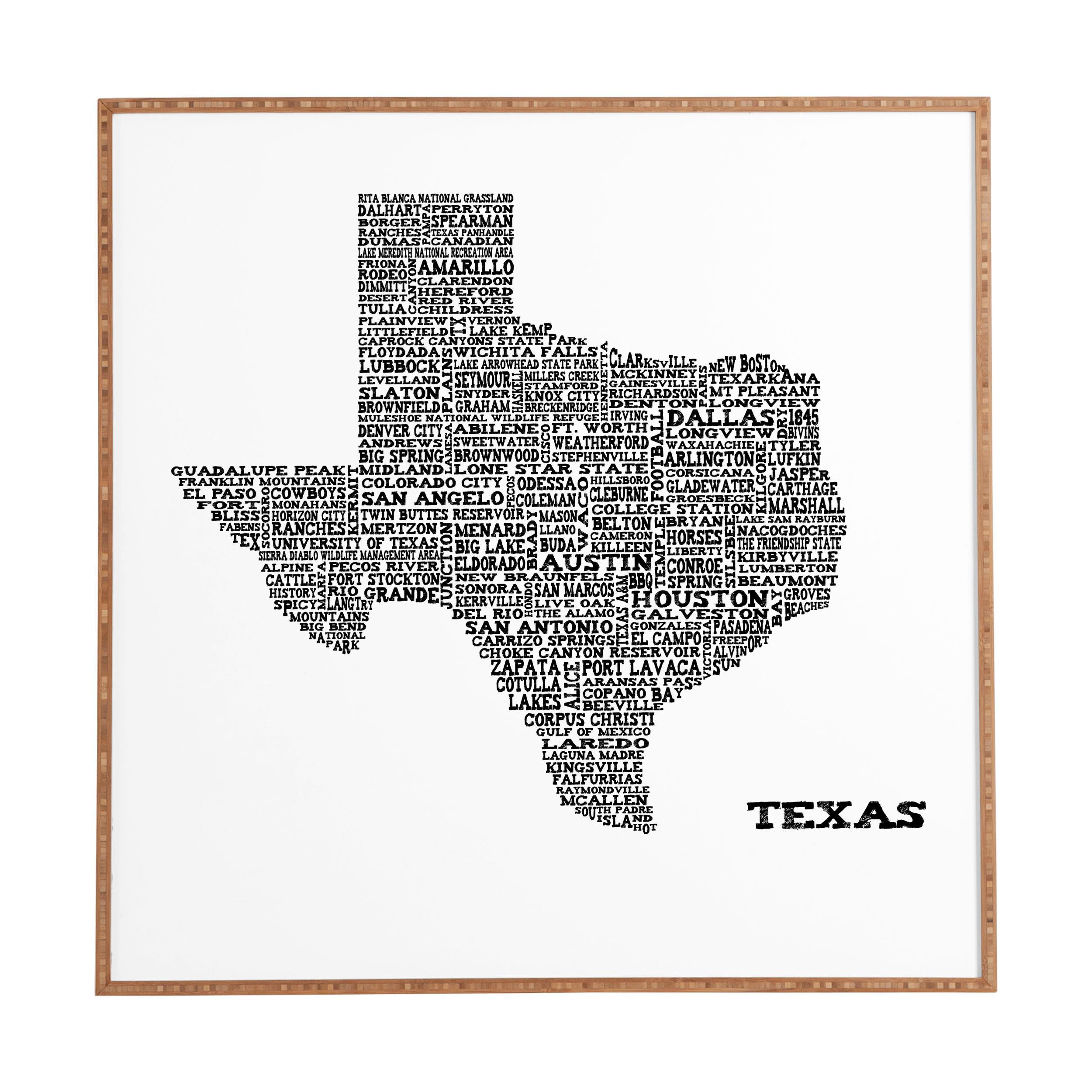 East Urban Home Texas Map Framed Graphic Art Print On Wood Reviews Wayfair