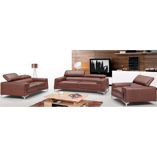 Brayden Studio Tipton Modern Saddle 3 Piece Leather Living Room Set