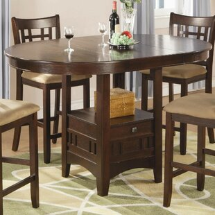 Jeffords Counter Height Extendable Solid Wood Dining Table