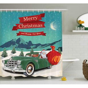 Affordable Christmas Santa in Classic Car Shower Curtain By The Holiday Aisle