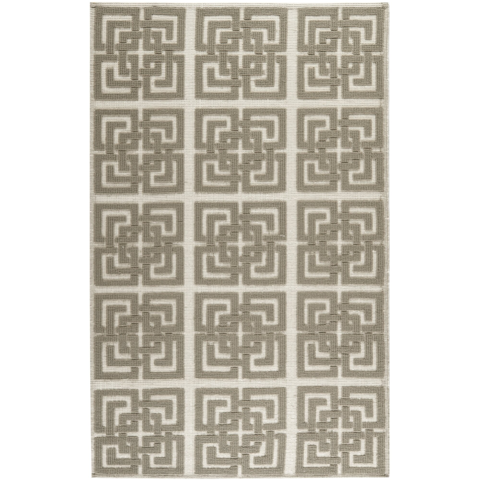 Martha Stewart Puzzle Floral Hand Woven Wool Ivory Brown Area Rug