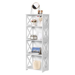 Coy 4-Tier Modular Cross Cut-Out Wood Plastic Composite Standard Bookcase